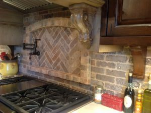 Detail, Corbels and brick backsplash